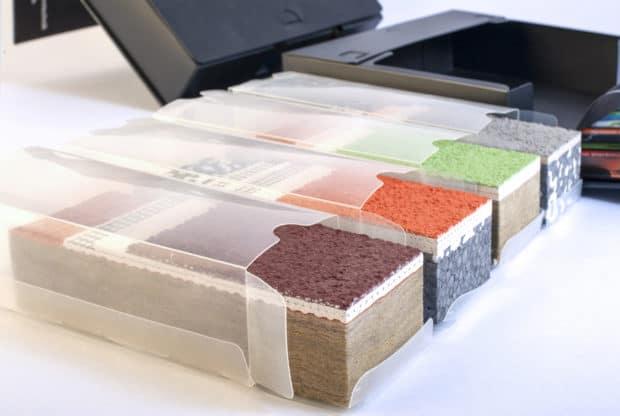 Diseño de embalajes individuales de PVC transparente para cada una de las 4 muestras de SATE o ETICS creadas por Design Duval