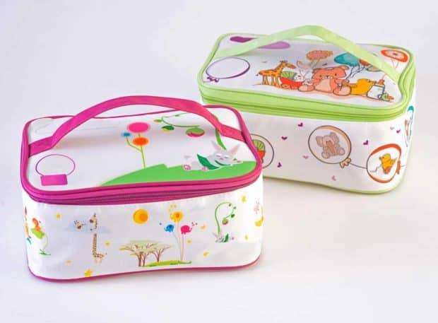 Bolsa de maternidad de gran calidad con impresión por sublimación en cuatricromía y asa de transporte de color a juego