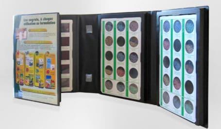 Coffret en PVC avec cale thermoformée pour présenter produits en poudre ou sable