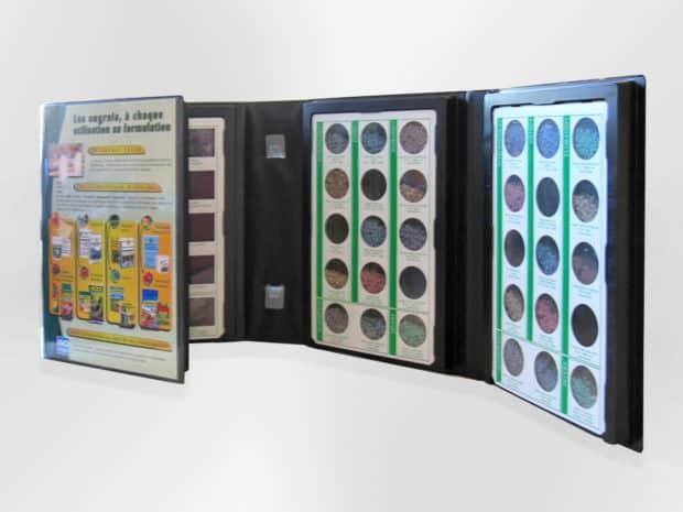 Caja muestrario de PVC con nido termoconformado para la presentación de granulados, arenas o polvos