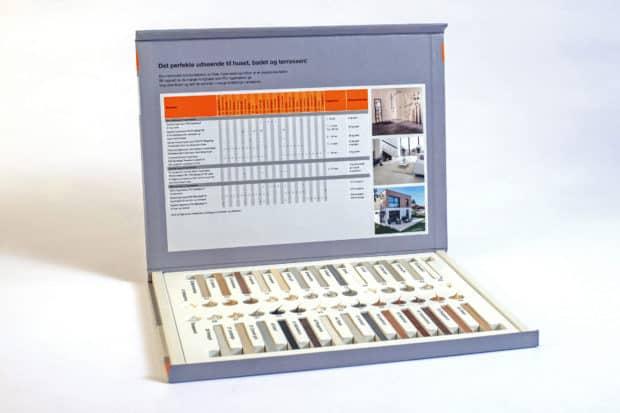 Magnetbox mit bedrucktem Tiefziehteil zur Präsentation von Fugenmustern und Silikonen