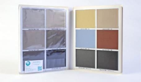 Carpeta muestrario de PVC con termoconformado para 12 muestras de colores de suelos industriales extraíbles en cazoletas