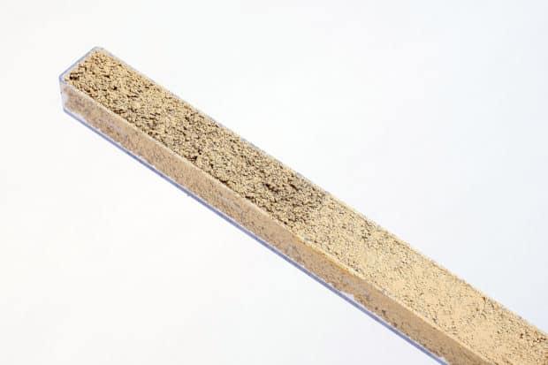 Fugenmusterschachtel aus PP mit Muschelkalkfugen in 2 Oberflächengestaltungen auf jedem Muster (glatt und rau)