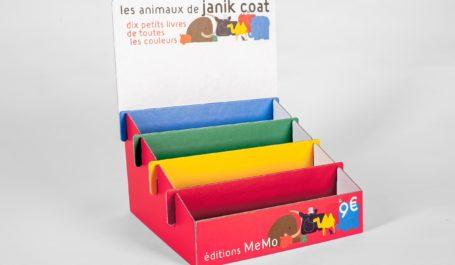 Expositor de mesa de gran calidad y de colores alegres para libros infantiles impresos directamente sobre cartón