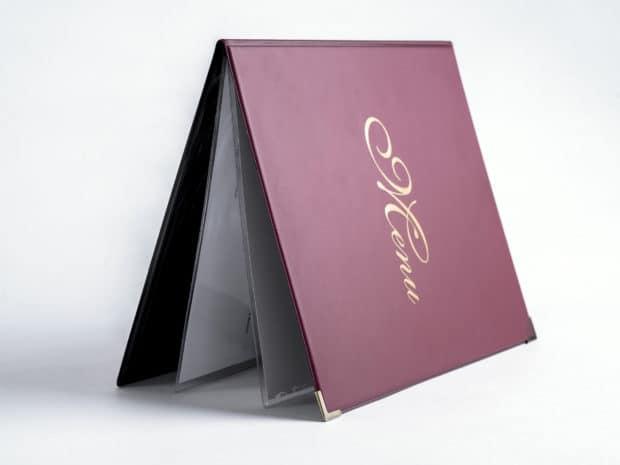 Couverture en PVC avec renfort carton pour porte-menu robuste
