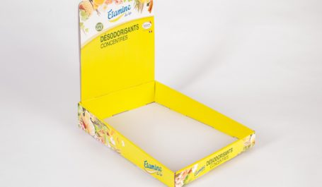 Display de mostrador impreso con impresión digital sobre cartón ondulado