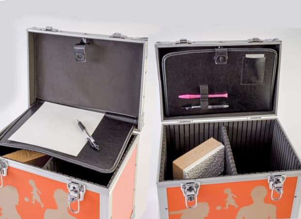 Valise aluminum : optimisation du couvercle transformé en rangement pour documents, stylos, mètre-ruban