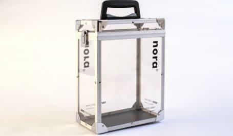 Valise d'échantillons haut de gamme transparente avec cornières alu