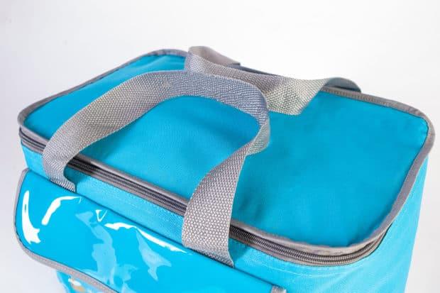 Maßgeschneiderte bedruckte Kühltasche aus hochwertigem Textil mit zwei Henkeln aus Polypropylen