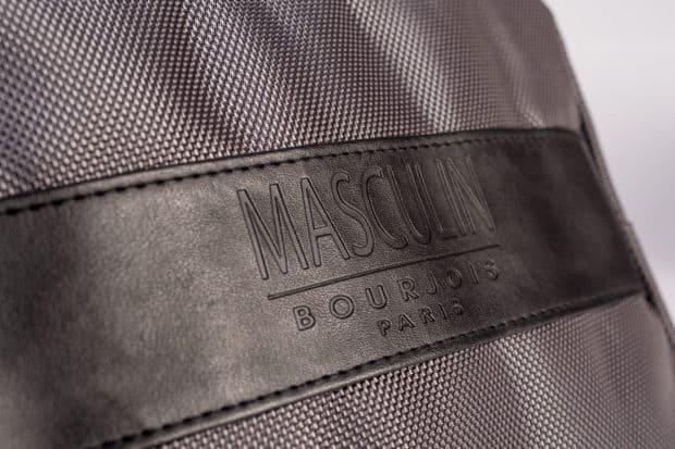 Trousse homme bimatière polyester et simili-cuir avec marquage en creux
