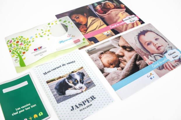 Diseño de las fundas protectoras para cartillas de vacunación y cartillas de salud según tus archivos de impresión, con posibilidad de personalización individual