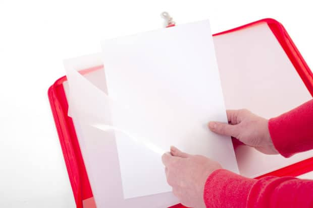 Transparent envelopes made of PP with a large opening for easy and quick filing