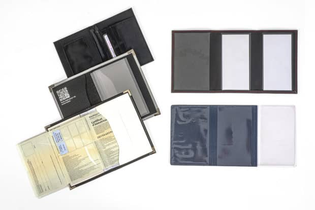 Custom-made vehicle registration wallets with foldable sleeve and additional compartments for driver's license, cards, ID etc