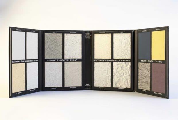 Vierteilige Mustermappe mit Karton-Inlays zur Präsentation von mineralischen Putzmusterstrukturen
