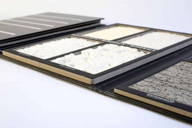 Présentoir esthétique : grilles aux coins arrondis pour valoriser les enduits