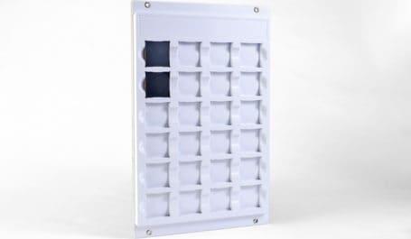 Presentación de pared hecha a demanda y flexible para muestras extraíbles de acabados de madera