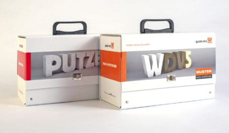 Juego de maletas de cartón para la presentación de muestras de morteros y maquetas de SATE o ETICS