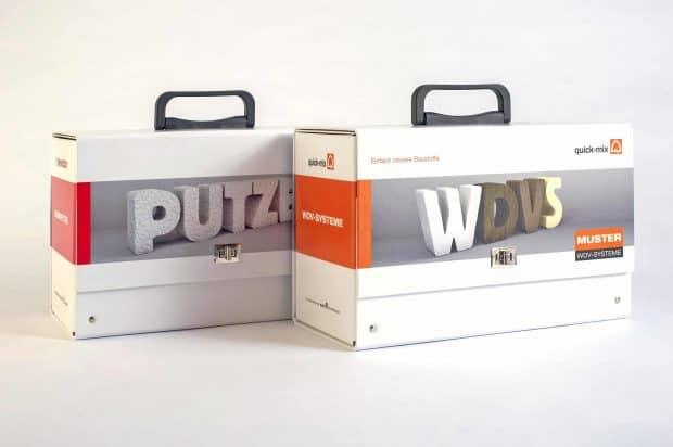 valise-mallette de présentation enduits-ITE en carton contrecollé rembordé